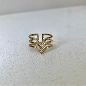 Stella&Dot Gold Chevron Pavé Ring - M/L